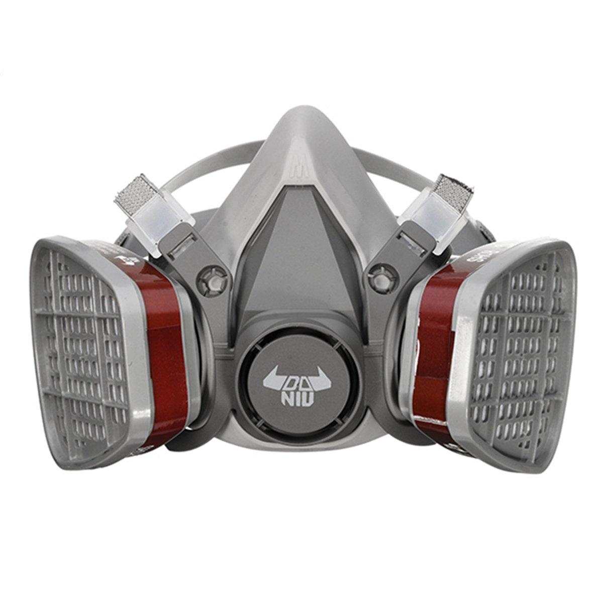 Respirador, DANIU Semimáscara Antigas Máscara para Pintura en Aerosol, Polvo, Productos Químicos, Lijado a Máquina, Formaldehído, Protección con Filtros ...