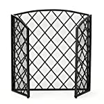 Angella 3 Panelled Black Iron Fireplace Screen by GDF Studio
