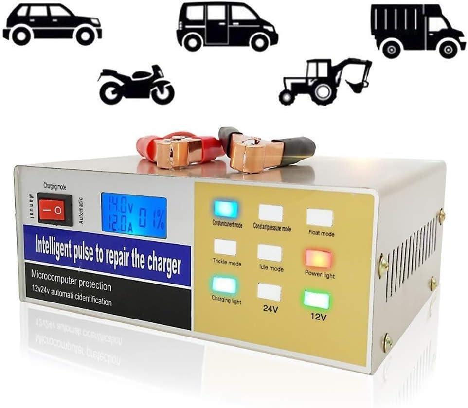 Cargador de batería Mantenedor de cargador de batería inteligente de 12V / 24V Adecuado for capacidad 60AH-400AH Batería de agua, batería seca, batería libre de mantenimiento