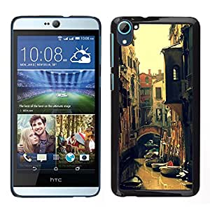 HTC Desire 826 dual Único Patrón Plástico Duro Fundas Cover Cubre Hard Case Cover - Kondola River Street Summer Sun