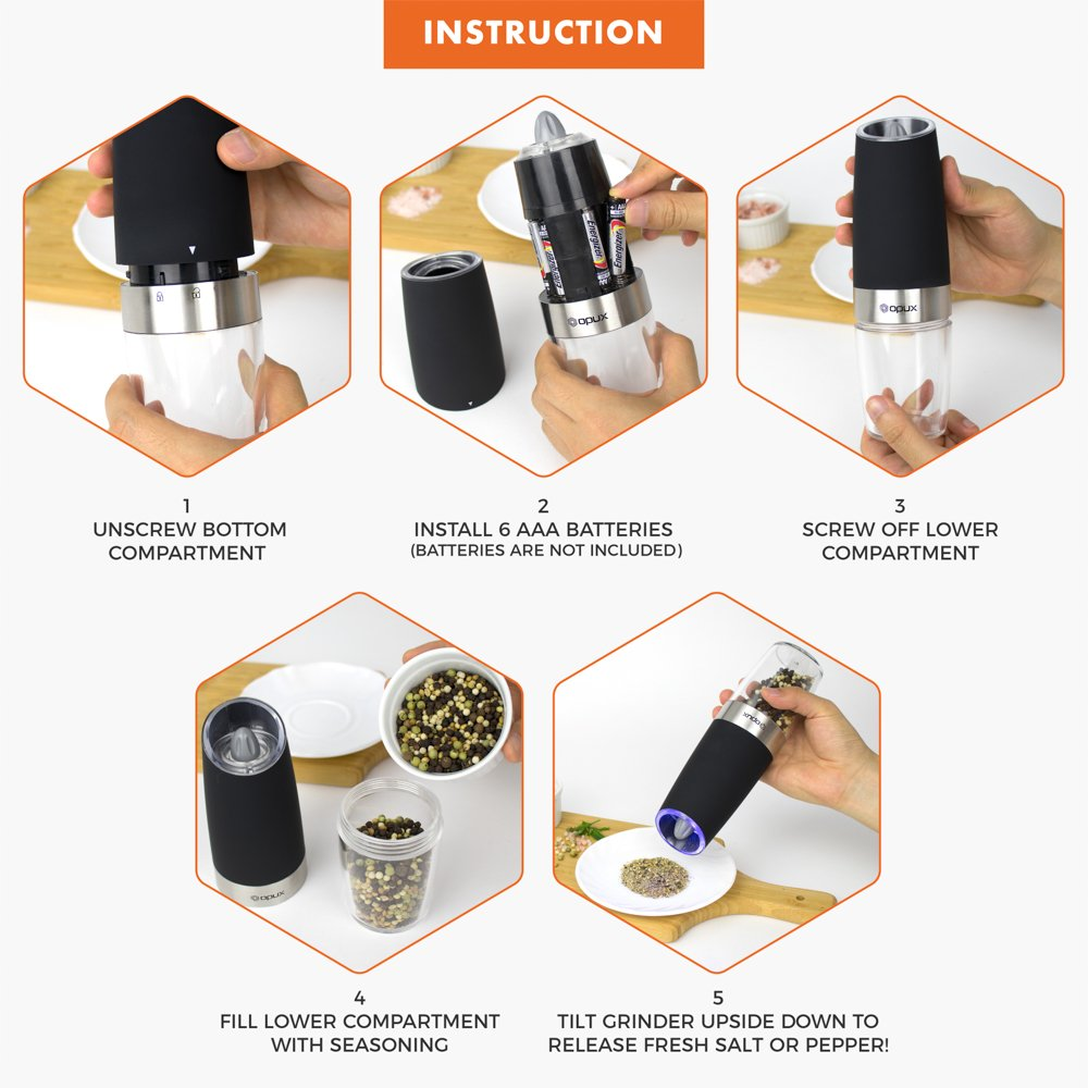 OPUX Premium Gravity Electric Salt and Pepper Grinder Set of 2   Battery Powered Salt Shakers, Automatic One Hand Pepper Mills with LED Light, Adjustable Coarseness (Black) by OPUX (Image #7)