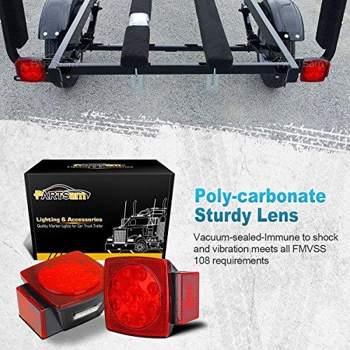 Partsam-2pc-Submersible-Square-Red-White-LED-Stop-Turn-Tail-License-Brake-Trailer-Light-kit-Sealed-12V-for-Camper-Truck-RV-Boat-Snowmobile-Under-80-Inch-Marine