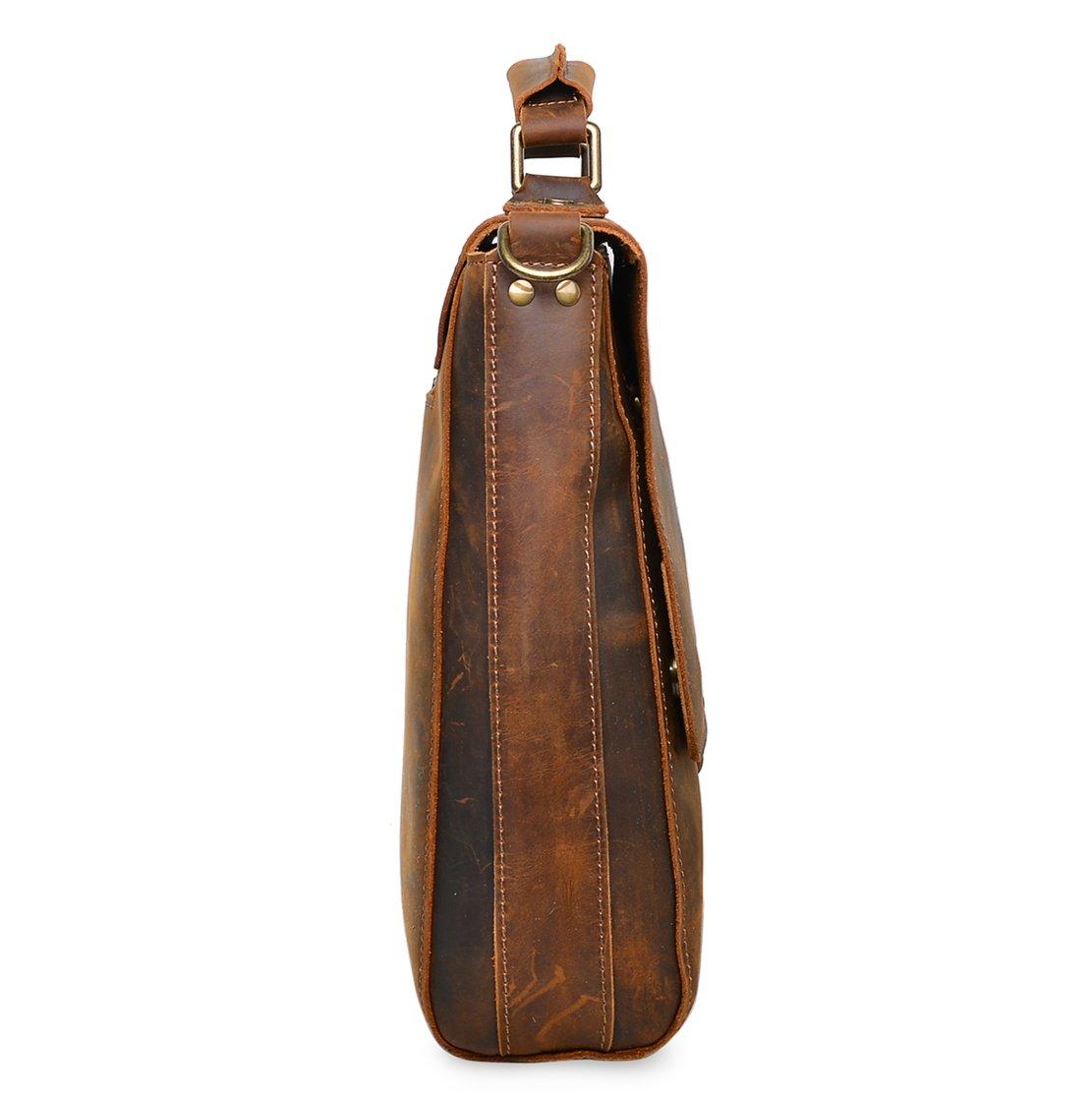ALTOSY Vintage Genuine Leather Business Laptop Briefcase Office Shoulder Bag 8127 (Brown) by Altosy (Image #4)