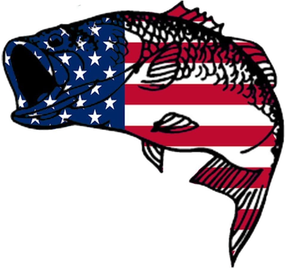 Rogue River Tactical Bass Fish USA Flag Sticker Decal Fishing Bumper Sticker Fish Patriotic United Auto Decal Car Truck Boat RV Real Life Rod Tackle Box