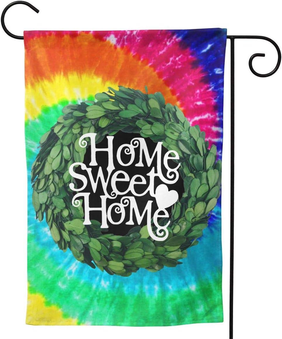 "AHOOCUSTOM Boxwood Wreath Welcome Garden Flag Vertical Double Sided, Home Sweet Home Wreath Tie Dye Rustic Farmhouse Burlap Flags Yard Outdoor Decoration 12.5 X 18 Inch 12.5""x18"""