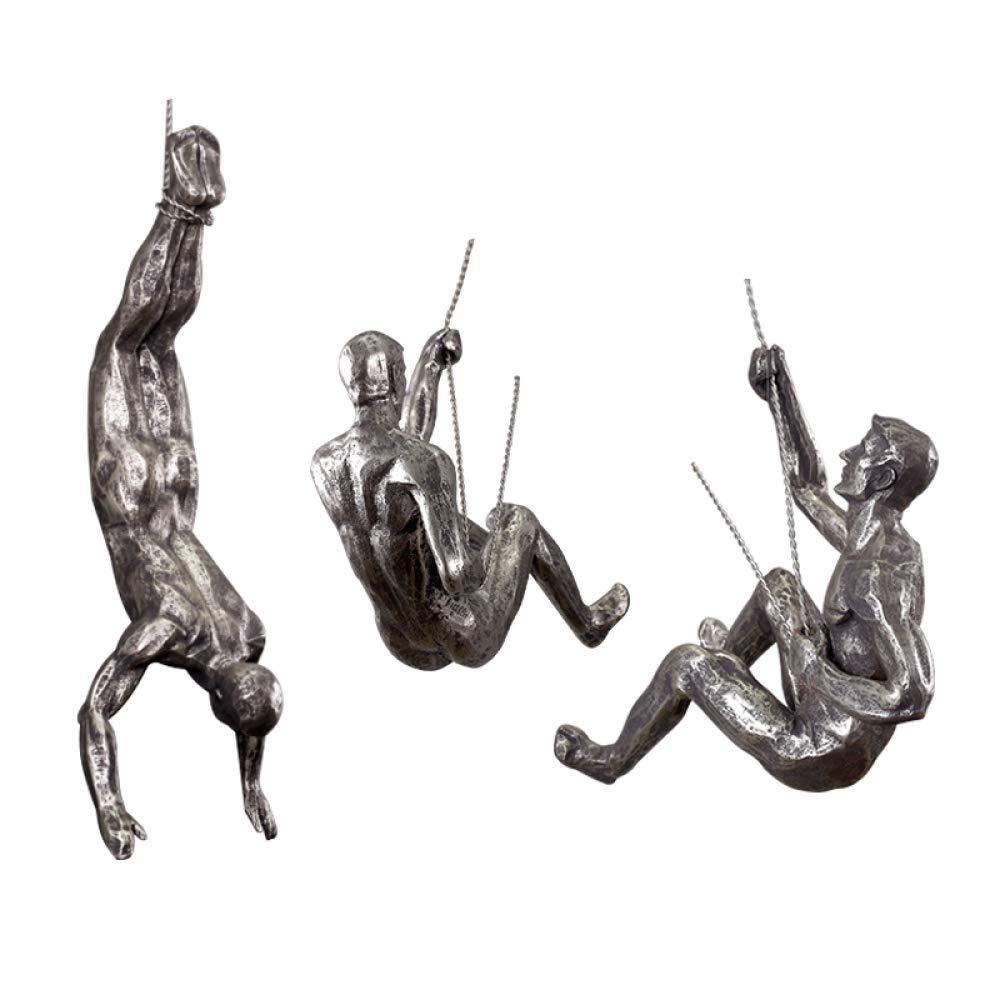 BLOIBFS Kletterer Skulpturen Harz Ornamente Kunsthandwerk Tischdekoration Anzug Für Wohnzimmer Hotel,Silver