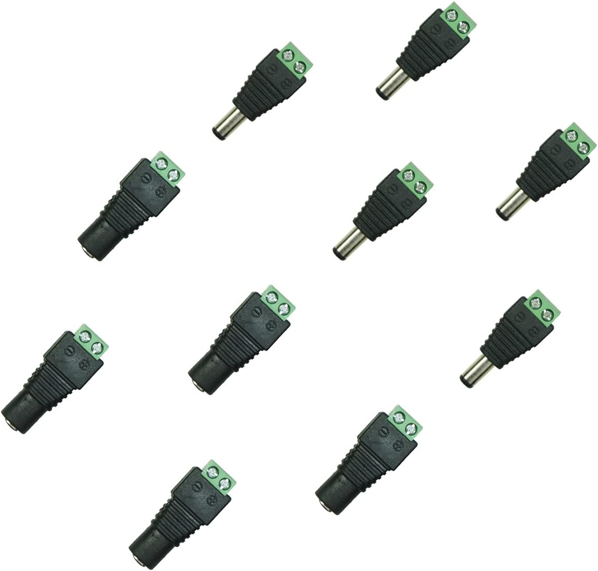 20 Pairs Male and Female 2.1x5.5mm DC Power Plug Jack Adapter Connector for CCTV