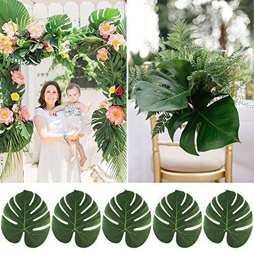 Artificial Monstera Leaves 48pcs-Large Tropical Leaves Decorations 14''x12'' Palm Tree Leaves for Luau Party Decor Jungle Party by PartyDelight (Image #3)
