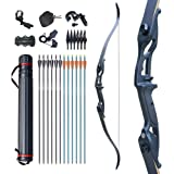 """D&Q Bow and Arrow for Adults Takedown Recurve Bows Hunting Bow Archery Set Adult Longbows Kit 56"""" 30-50lb Right Hand Bow Alum"""