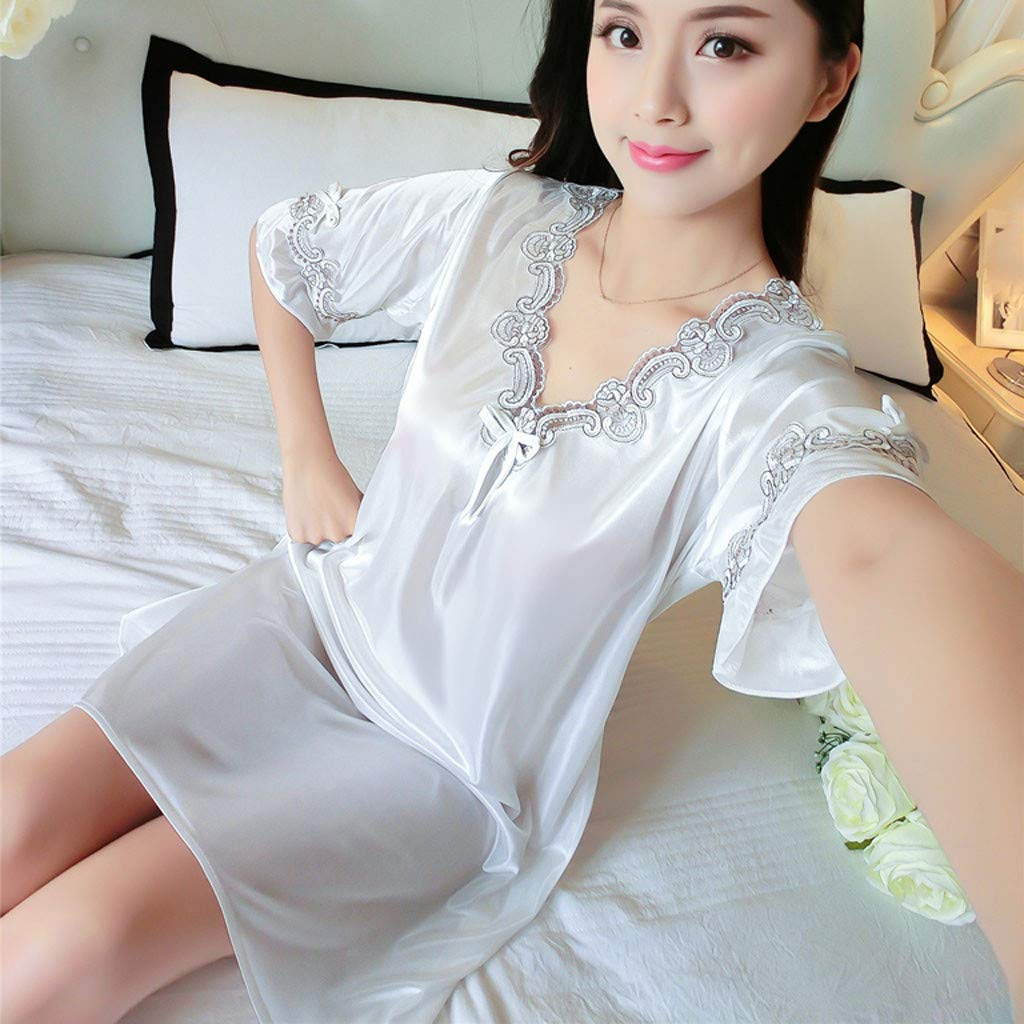 Pervobs Women's Pure Color Short Satin Short Sleeve V-Neck Nightdress Sexy Loose Soft Silk Satin Pajamas Dress Lingerie(Free Size, White) by Pervobs Lingerie & Sleepwear (Image #6)