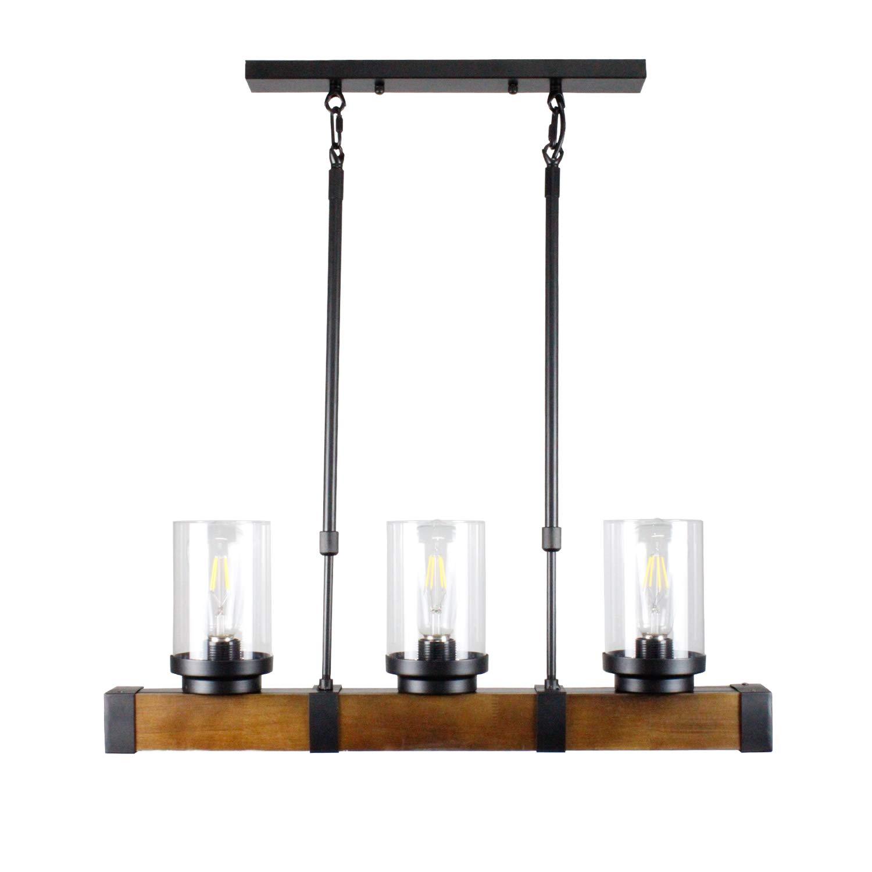 Metal Wood and Glass Chandelier Pendant Light Retro Rustic Loft Antique Lamp,3 Lights Retro Pendant Light Fixture Rectangular Wood Frame Metal Hanging Chandeliers Ceiling Light Luminaire