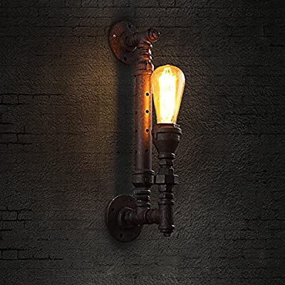 BAYCHEER HL371103 light pipe Vintage style Industrial Edison Water Metal Pipe Wall Sconces metal ceiling wall Lamp with 1 Light