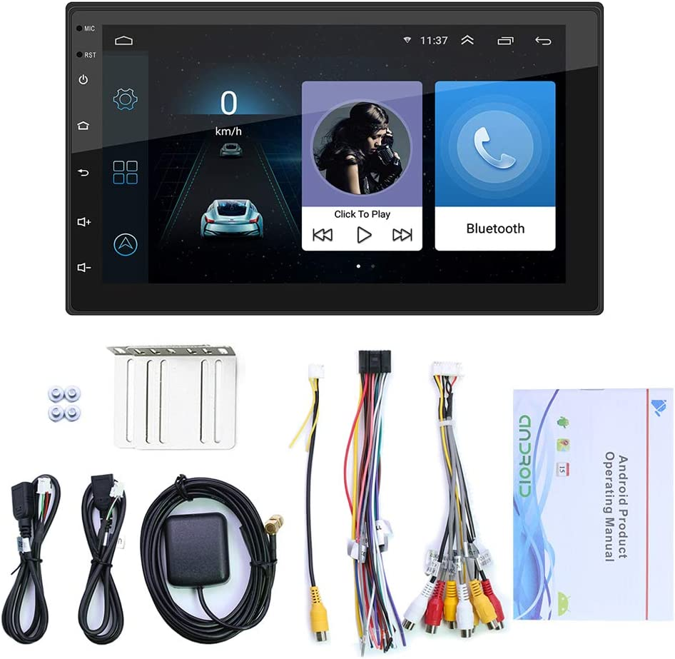 Double Din Car Stereo with Backup Camera,7 Inch,GPS Navigation,Driving Recorder,FM//USB//WiFi//APP//AUX//RCA,Touch Screen Bluetooth Car Radio