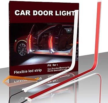 Car Door LED Strip Lights DIBMS 2pcs 120cm 48Inch 144 LEDs Flexible Dual Interior Car Door Lights for Lighting Decoration Warning Anti Rear-end Collision