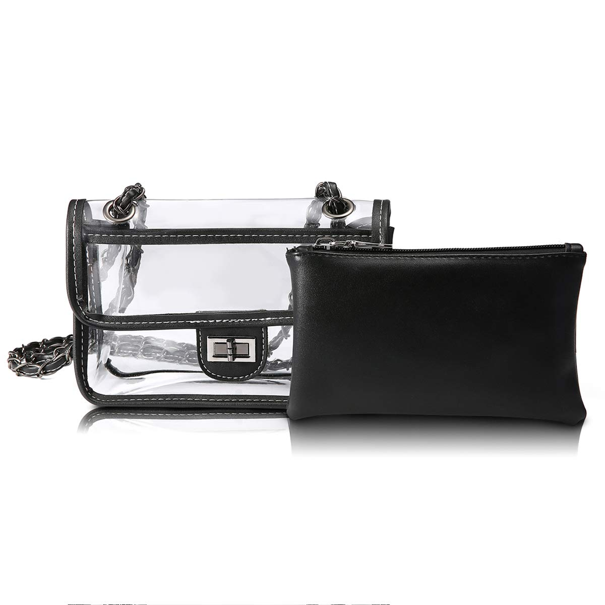 CHARMINER Clear Purse Cross Body Messenger Bag Adjustable Strap Toiletry Bag 2PCS Waterproof Shoulder Bag for Cosmetics Makeup and Travel NFL PGA Stadium Approved Black Large