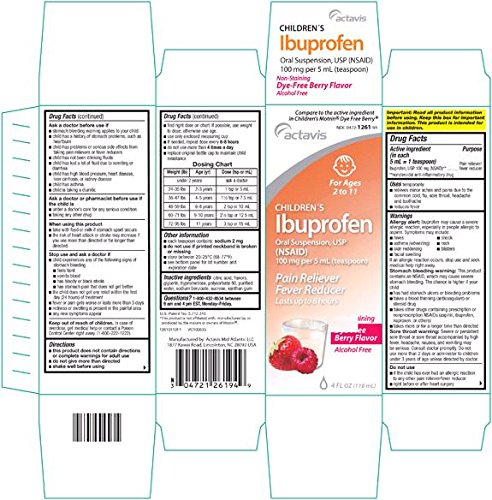 3 Pack Actavis Children's Ibuprofen Oral Suspension Usp, 100mg Per 5ml (Teaspoonful) Berry Flavor Dye and Alcohol Free Non Staining 4 Oz Each (Pack of 3) *Compare to Children's Motrin and Save*