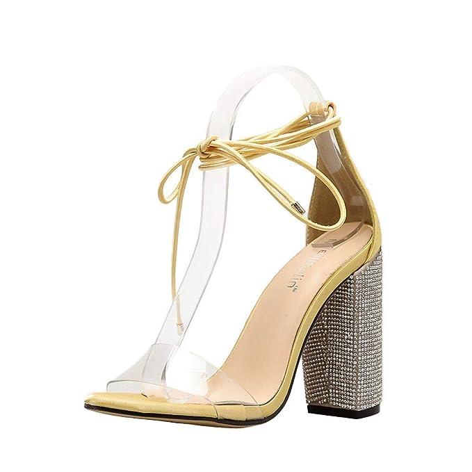 Calzado Correa Cruzada Sandals con Tacones Gruesos Chanclas de Diamantes Zapatillas de imitación Abiertos Shoes con Punta Abierta Briskorry: Amazon.es: Ropa ...