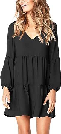 Amoretu Women's Deep V Neck Loose Shift Pleated Tunic Dress Long Sleeves Black S
