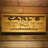 "wpa0183 Name Personalized Lounge Drum Music Band Room Wood Engraved Wooden Sign - Standard 23"" x 9.25"""