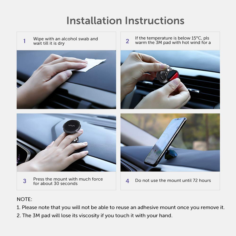 VAVA Magnetic Phone Holder for Car Car Phone Mount Compatible with iPhone Xs Max XR X 8 7 Plus Galaxy S9 S8 Plus Note 9 8 and More Cell Phone Holder for Car Magnetic Phone Car Mount