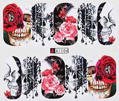 Plus Size Appeal Full Set of 10 Punk Gothic Rockabilly SKULL and ROSES Nail Wrap Decals Sticker Salon Quality Nail Art - Great for Halloween! 1 Sheet