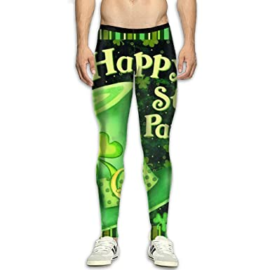 2e6531b02caf0 Patrick's Day Stretch Compression Pants/Running Tights Leggings Women's Side  Pocket: Clothing