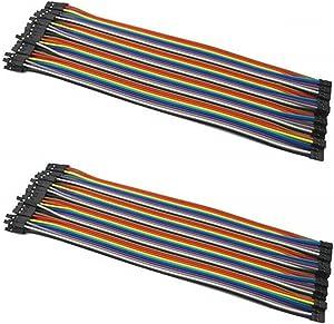 OdiySurveil(TM) 2 X 40pcs 20cm 1P-1P Female to Female Breadboard Cable Dupont Jump Wire Jumper For Arduino,Pure copper core