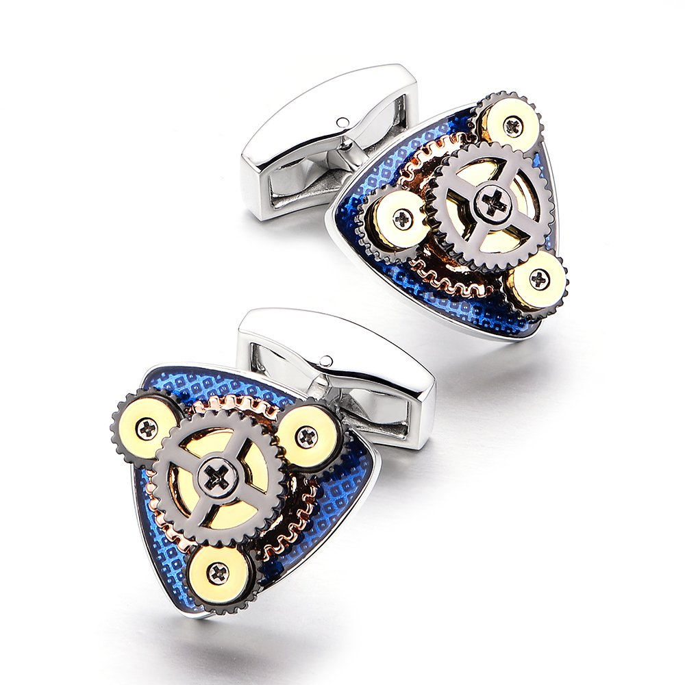 Merit Ocean Sterling Silver Movement Cufflinks Watch Cuff Links Business Wedding Gifts