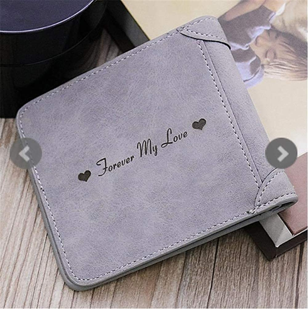 Personalized Mens Genuine Leather Custom Photo Wallet With Zipper Pocket Credit Card Holder Coin Purse Short