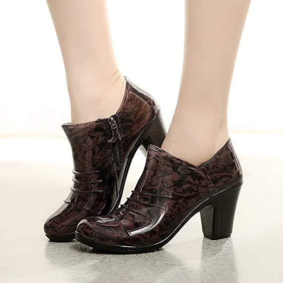 07673f28d934f Amazon.com: SUNyongsh Women's Rain Boots Pumps Non-Slip Lace-Up High ...