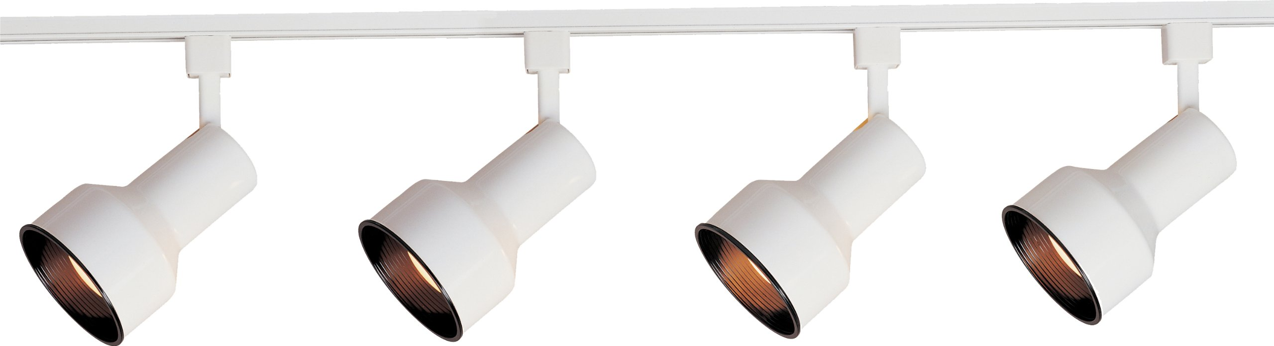 Maxim 92305WT Track 3-Light Track Kit Wall Sconce, White Finish, Glass, MB R30 Incandescent Incandescent Bulb , 20W Max., Dry Safety Rating, 2900K Color Temp, Standard Dimmable, Shade Material, 1125 Rated Lumens