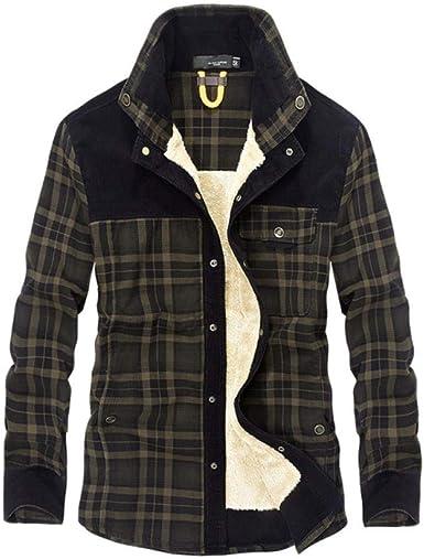 Camisa Casual cálida de Invierno de Marca Camisa de Hombre de Felpa Militar de algodón Camisa de Vestir de Hombre de Manga Larga Gruesa de algodón Chemise Homme-Dark_Army_Green_XL: Amazon.es: Ropa y accesorios