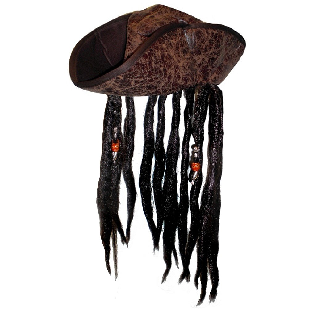 Caribbean Pirate Tricorn Hat With Beaded Dread Locks