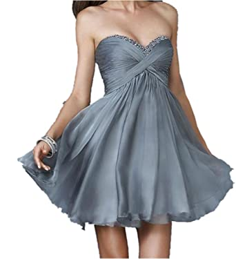 Ovitina Short For Seniors Cheap Sweetheart Strapless Fitted Beaded Prom Dresses Grey us2