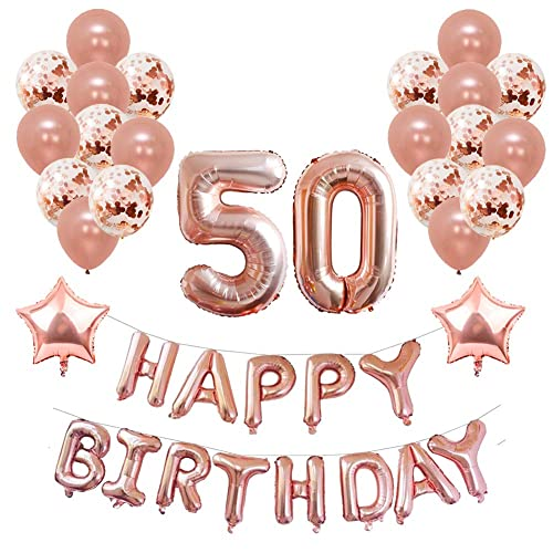 Yoart 50th Birthday Decorations Rose Gold For Women And Girl Party Supplies 39 Piece With Happy