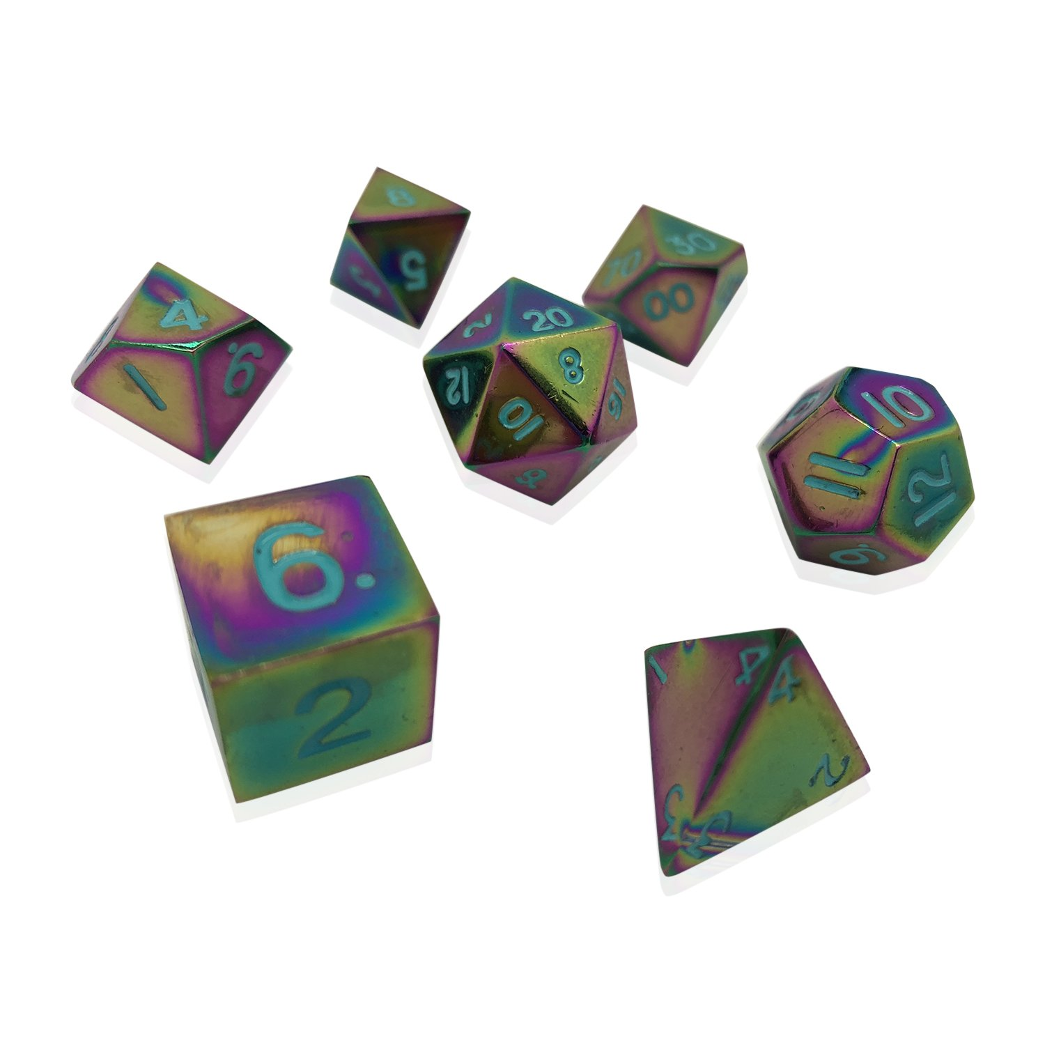 Norse Foundry Set of 7 Queens Treasure Full Metal Polyhedral Dice RPG Math Games DND Pathfinder ...