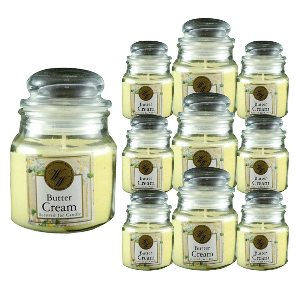 Wonderful Wicks Butter Cream Scented Yellow Candle Glass Jar Long Lasting Aromatherapy 3.2oz (120-Pack)