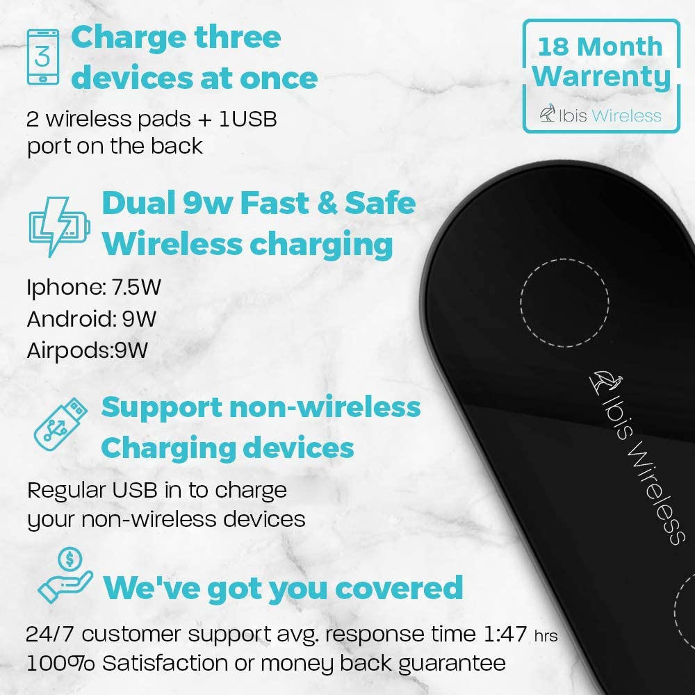IBIS Wireless 9W Dual Wireless Charger Fast Charging Station 3 Devices At Once Wireless Phone charger Pad For iPhone 11 Pro Max. Wireless Charging Pad Multiple Devices with Qualcomm 3.0 USB Charger