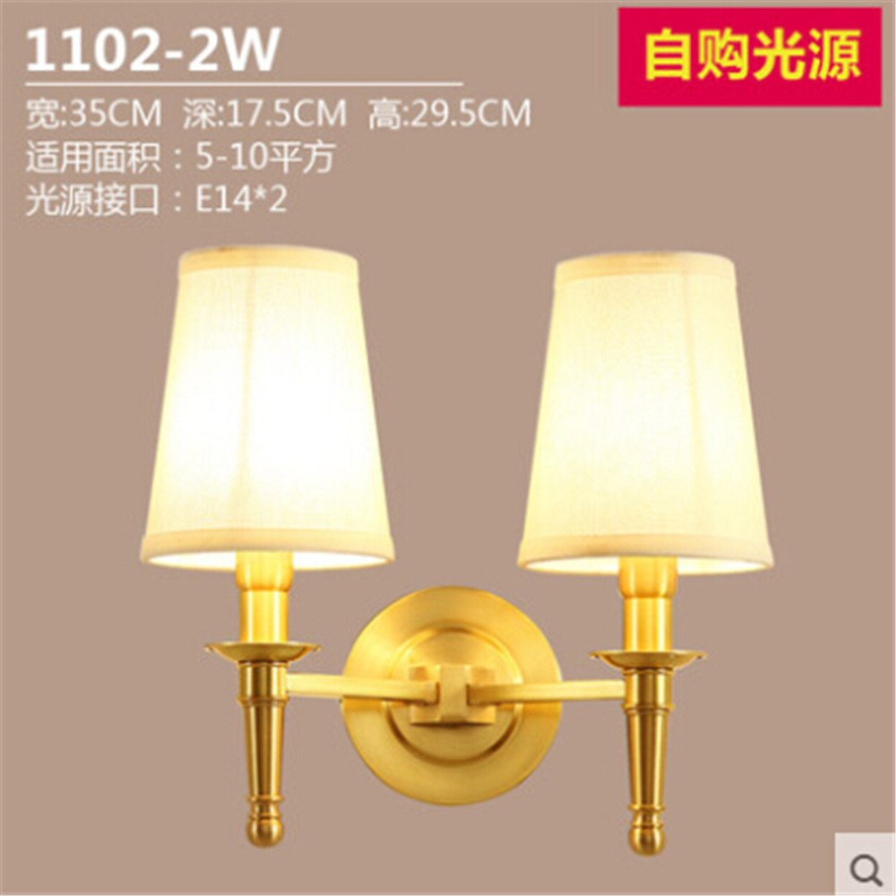 ordina adesso DengWu lampada lampada lampada da parete American Cu tutte le luci da parete minimalista moderno soggiorno balconi passerelle letto camera da letto singola testa lampade in ottone  shopping online di moda