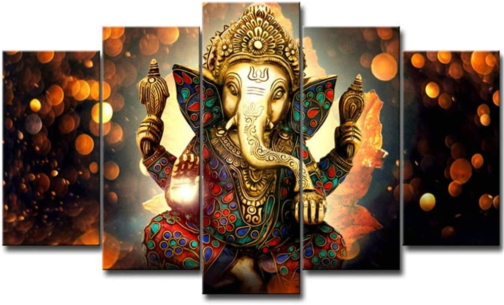 "LiftGather 5pcs / set waterproof canvas painting elephant trunk God Ganesha HD print home wall hanging art prints modular pictures(40""W x 20""H, Framed)"