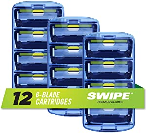 SWIPE Premium Men's 6-Blade Razor Refills (12)