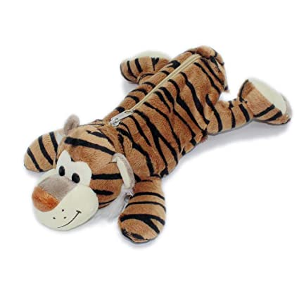 Wild Animals Leopard Tiger Lion Zebra Stuffed Toy Style Pen Bag Pencil Pouch Office Desk Accessories Organizor Tiger