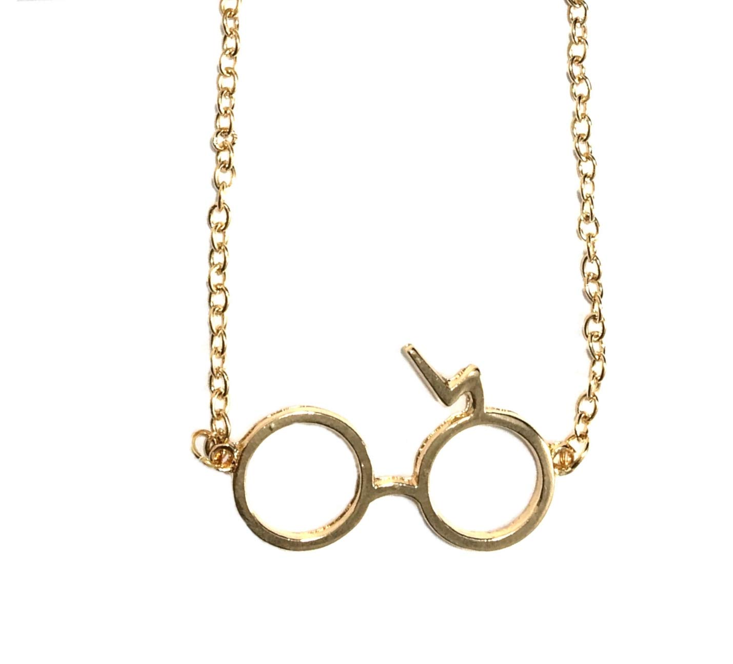 Gold Color Harry Potter Glasses Necklace with Muslin Bag for Gift