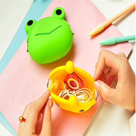 SUSHAFEN 4 Pcs Cartoon Silicone Coin Wallets Coin Purse Headset Bag Cartoon Animal Wallet Waterproofing Coin Silicone Bag Novelty Toy School Prize ...