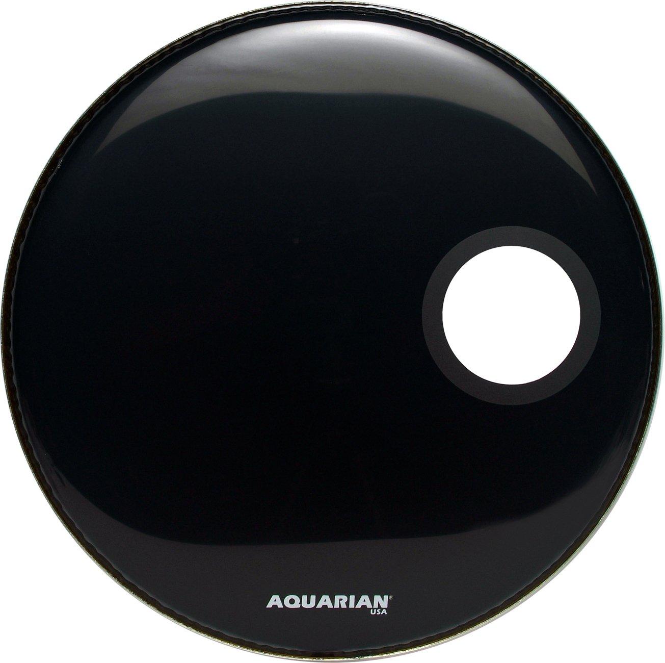 Aquarian Drumheads SMPTCC26BK Offset Ported Bass 26-inch Bass Drum Head, gloss black