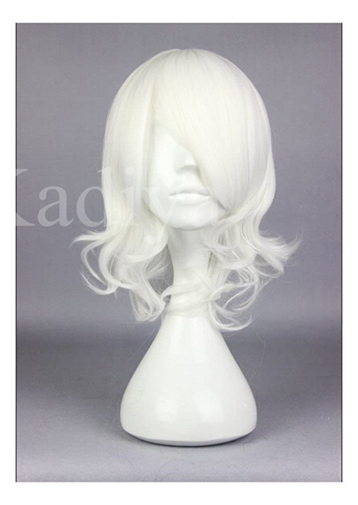 KADIYA White Short Cosplay Wig Synthetic Costume Hair Plus Hairpins