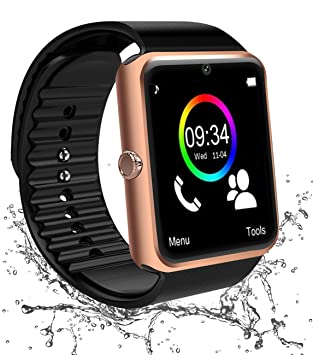 Reloj Inteligente Bluetooth, Smartwatch Impermeable Smart Watch con Camara, SIM/TF Ranura Whatsapp Sports Podómetro Pantalla Táctil Reloj Bracelet ...