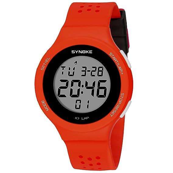 Relojes Mujer Deportivos para Mujer Reloj de Cuarzo Resistente al Agua para Niñas Rojo