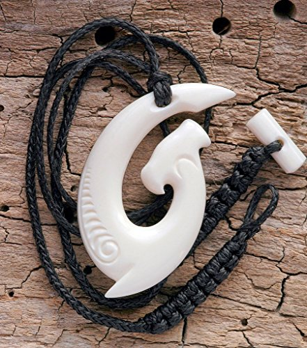 Hand Made Maori Style Hammerhead Shark Matau (hook) Bone Carving Necklace from New Zealand (Shark Zealand New)