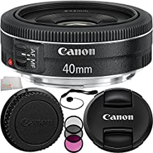 Canon EF 40mm f/2.8 STM Lens 7PC Accessory Kit. Includes Manufacturer Accessories + 3PC Filter Kit (UV-CPL-FLD) + Cap Keeper + Microfiber Cleaning Cloth